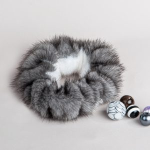 Buy Hair Scrunchie Real Mink White and Blue Iris