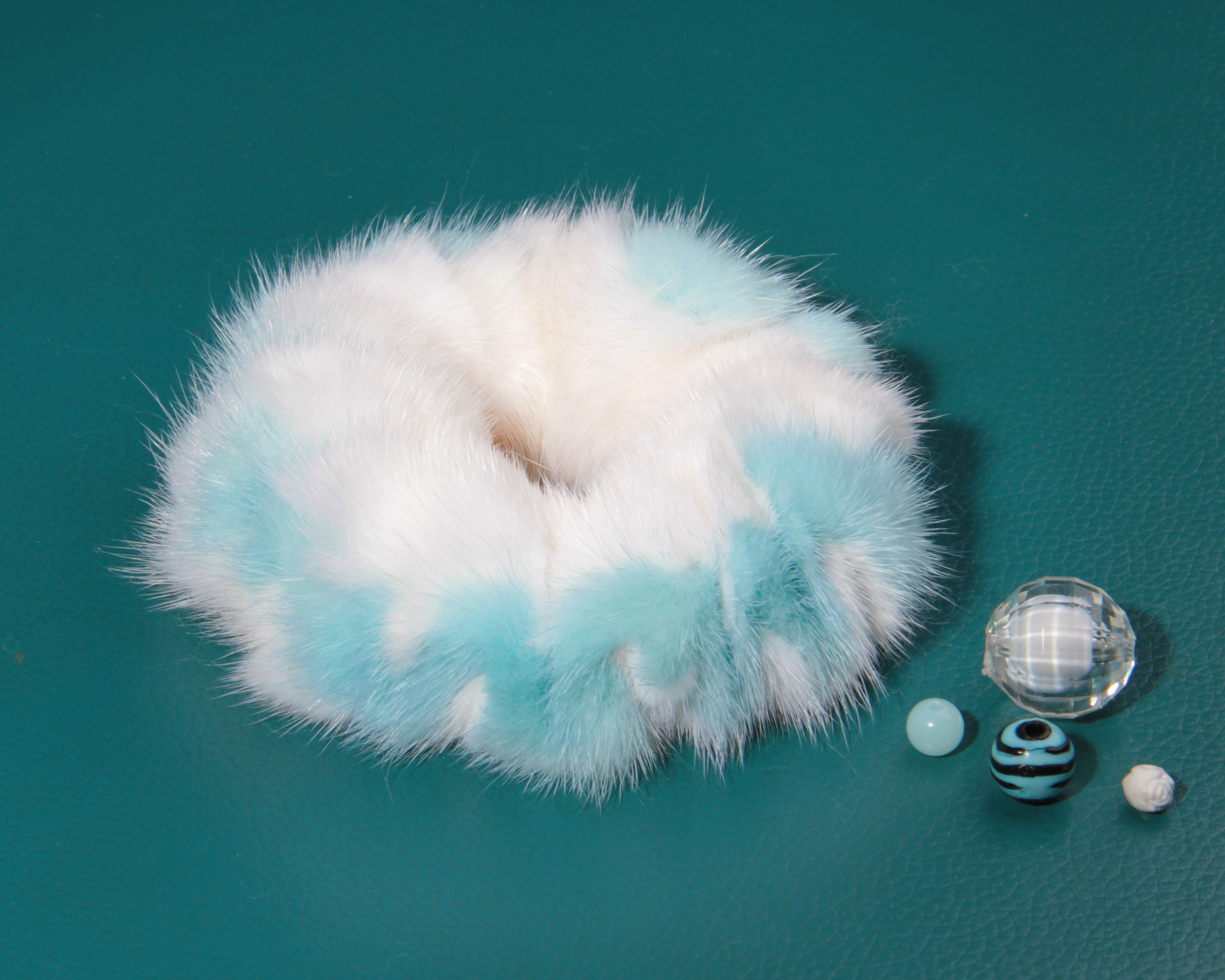 Buy Hair Scrunchie Real Mink double color White and Blue