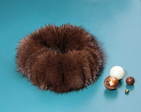 Buy Hair Scrunchie Real Mink Dark Brown