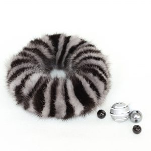 Buy Hair Scrunchie Real Mink Black and Gray Striped Bicolor