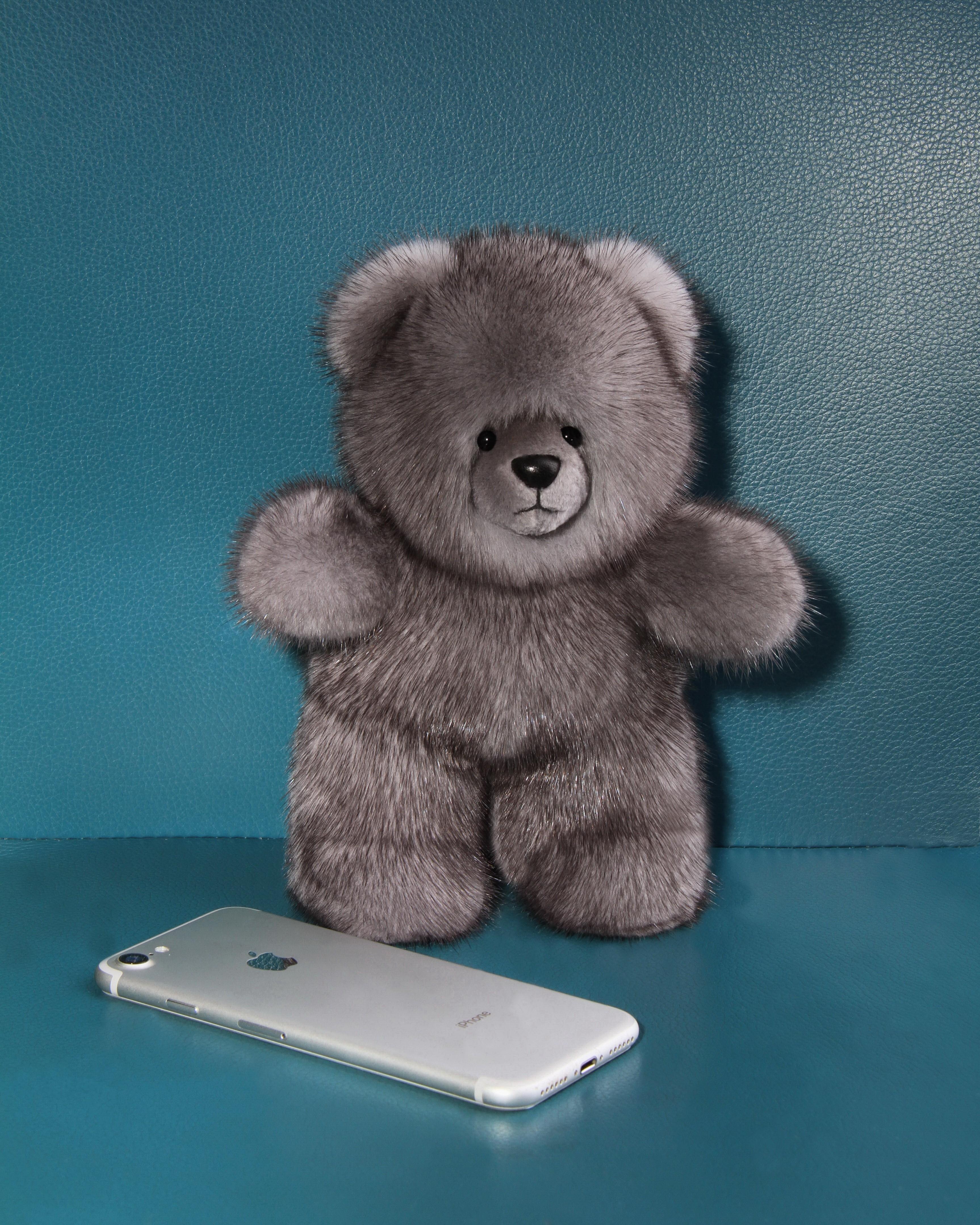 Buy Real Mink Fur Bear Blue Iris Gray