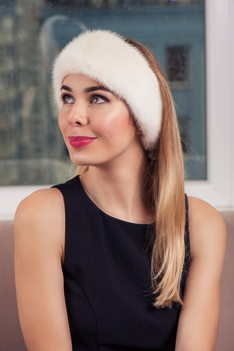 Buy Headband Real Fur Mink Black