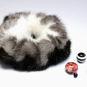 Buy Hair Scrunchie Real Mink White Black Gray