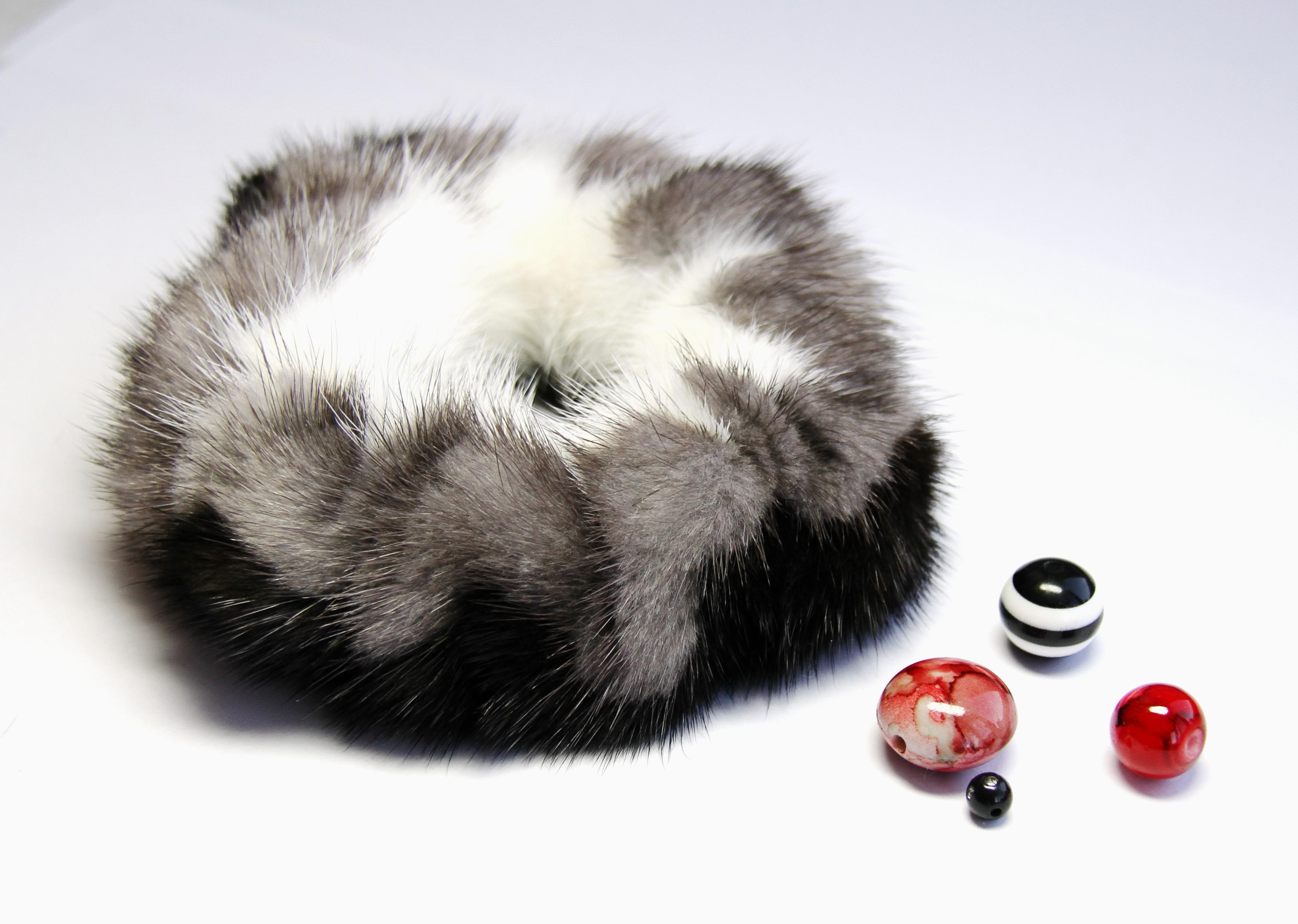 Buy Hair Scrunchie Real Mink White Black Gray