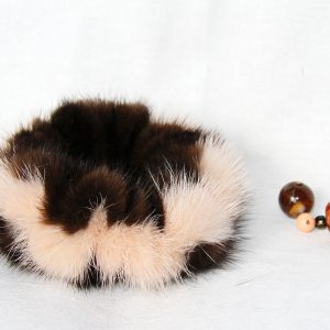 Buy Hair Scrunchie Real Mink Dark Brown and Peach