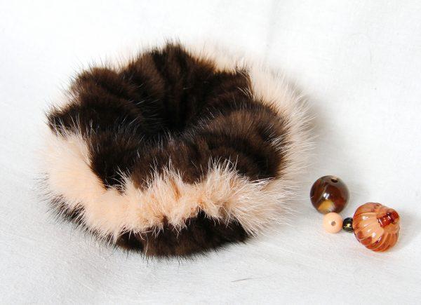 Buy Hair Scrunchie Real Mink Dark Brown and Peach