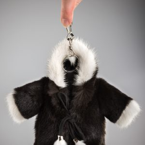 Buy Real Mink Fur Coat Keychain Black and Gray