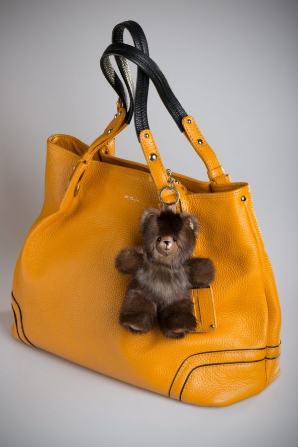 Buy Real Fur Mink with Sable Bear Light Brown Keychain