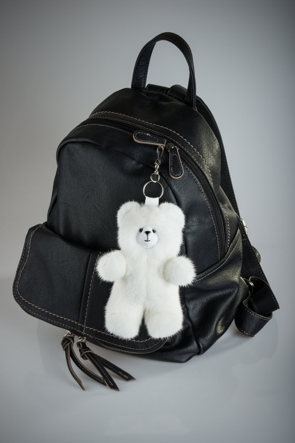 Buy White Bear Fur Keychain