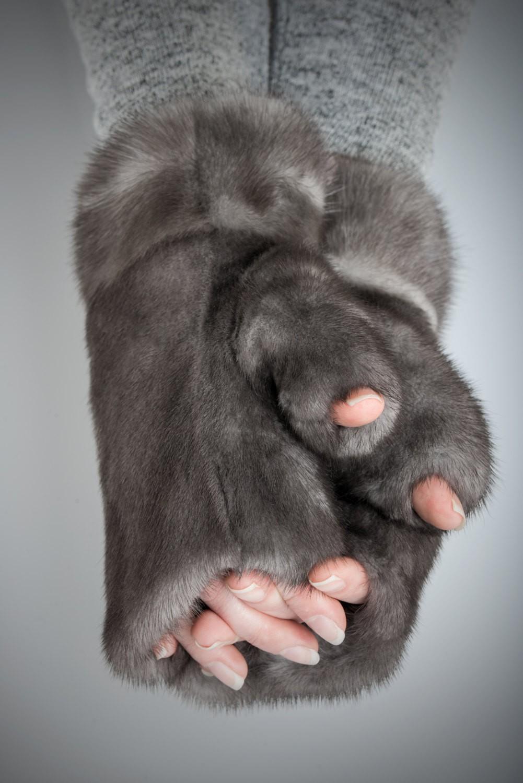 Buy Women Fingerless Mittens Gray Real Fur Mink Blue Iris