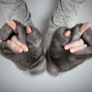 Buy Women Fingerless Mittens Gray Real Fur Mink Blue Iris