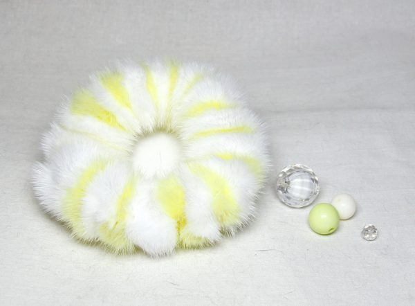Buy Hair Scrunchie Real Mink Lemon and White Scrunchie Striped