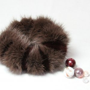 Buy Hair Scrunchie Real Mink Violet and Vinous double-colored