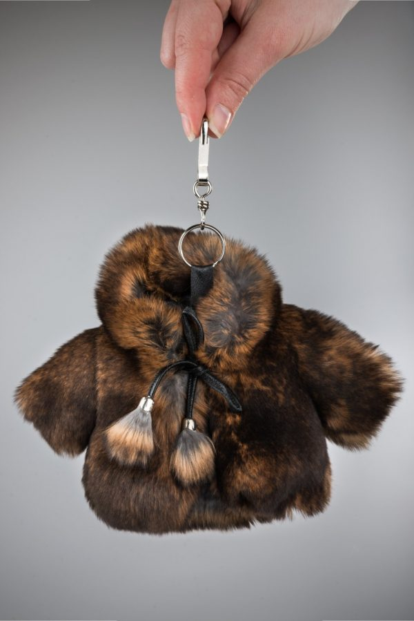 Buy Real Fur Coat Keychain Brown with Hood