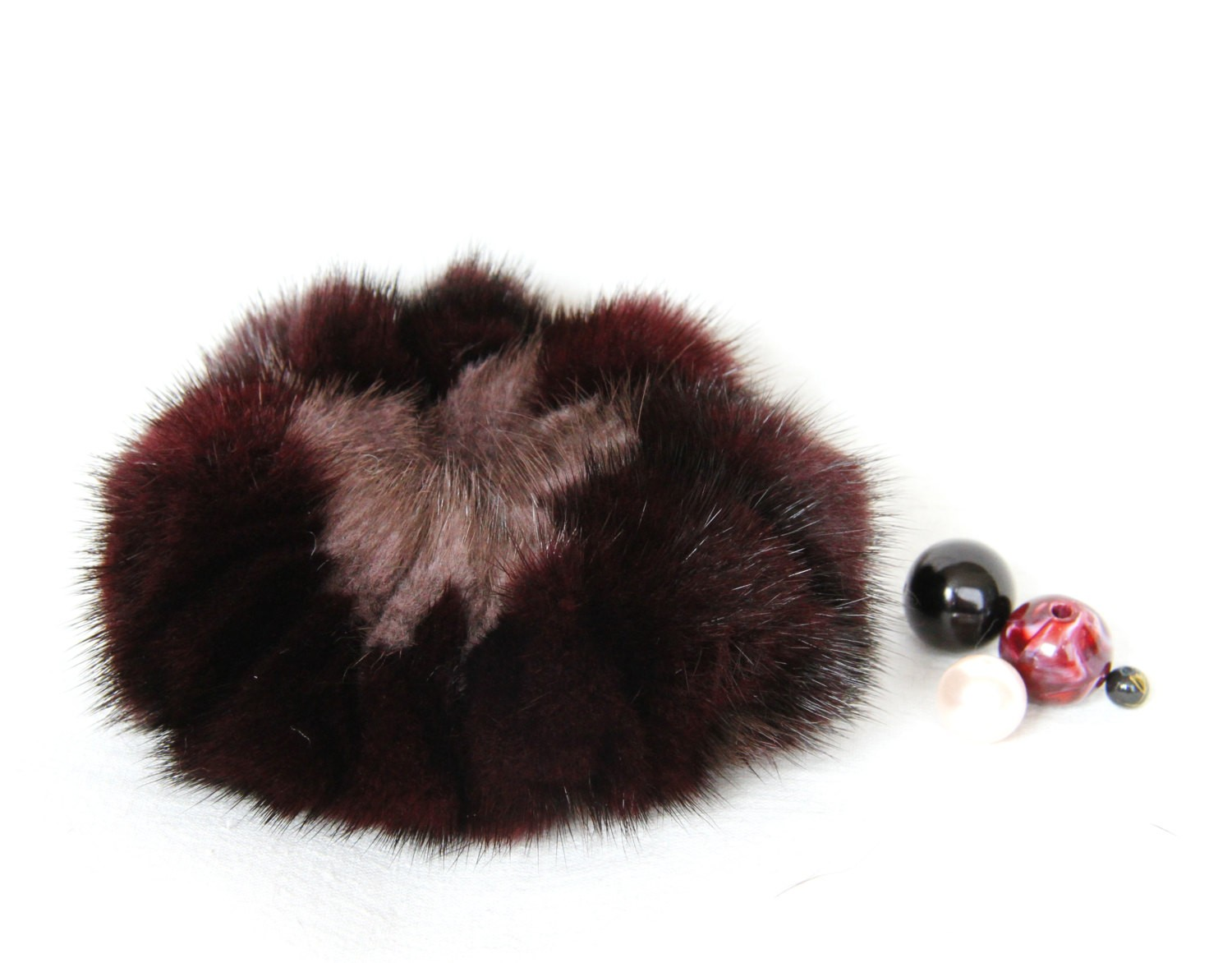 Buy Hair Scrunchie Real Mink double-colored Vinous and Dark Lilac