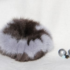 Buy Hair Scrunchie Real Mink double-colored Gray and Blue