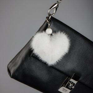 Buy Heart Keychain Real Fur Mink White