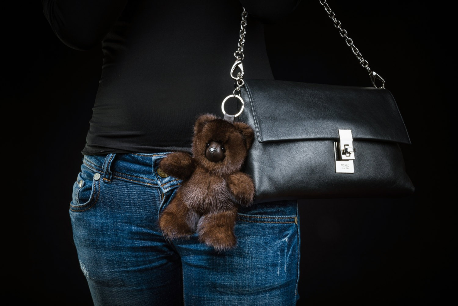 Buy Dark Brown Bear Fur Keychain