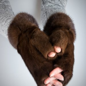 Buy Women Fingerless Mittens Brown Real Fur Mink