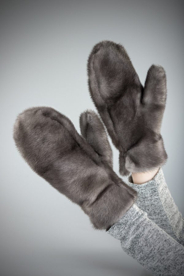 Buy Gloves Real Mink Fur Double-sided Gray