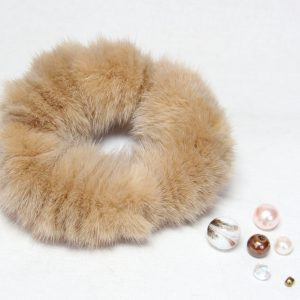 Buy Hair Scrunchie Real Mink Sand