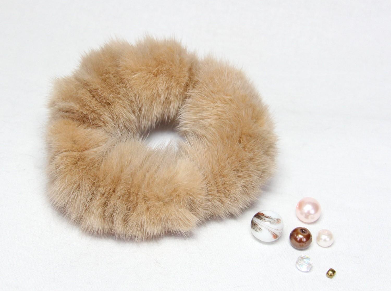 Buy Hair Scrunchie Real Mink Sand