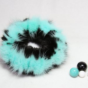 Buy Hair Scrunchie Real Mink Turquoise Black
