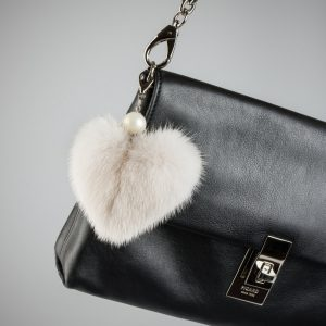 Buy Heart Keychain Real Fur Mink Beige