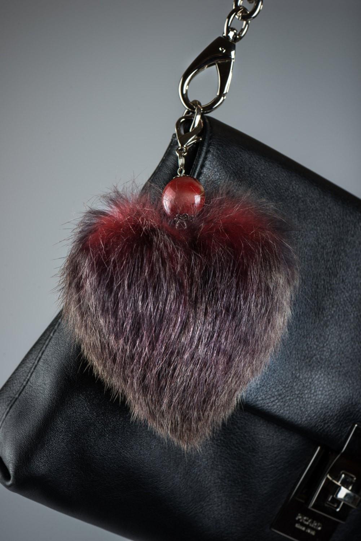 Buy Heart Keychain Real Fur Rabbit Vinous
