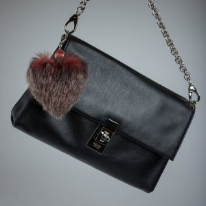 Buy Heart Keychain Real Fur Rabbit Vinous