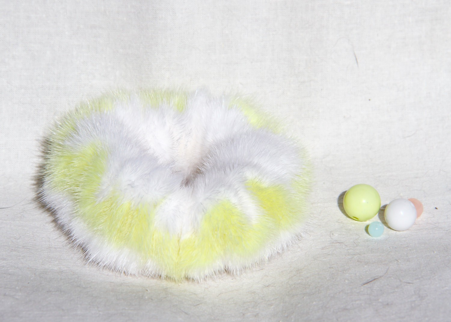 Buy Hair Scrunchie Real Mink double color White and Lemon