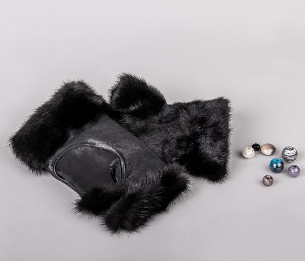 Buy Women Fingerless Mittens Black Real Fur Mink