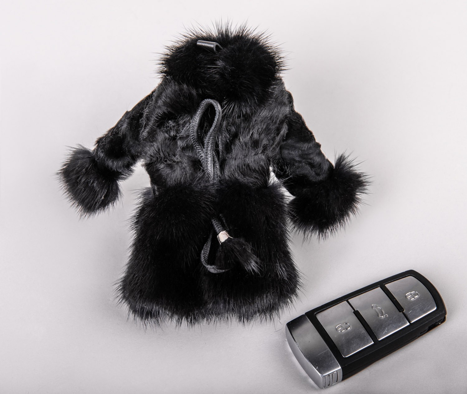 Buy Real Swakara Fur Coat Keychain Black
