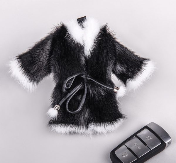 Buy Real Mink Fur Coat Keychain Black and White