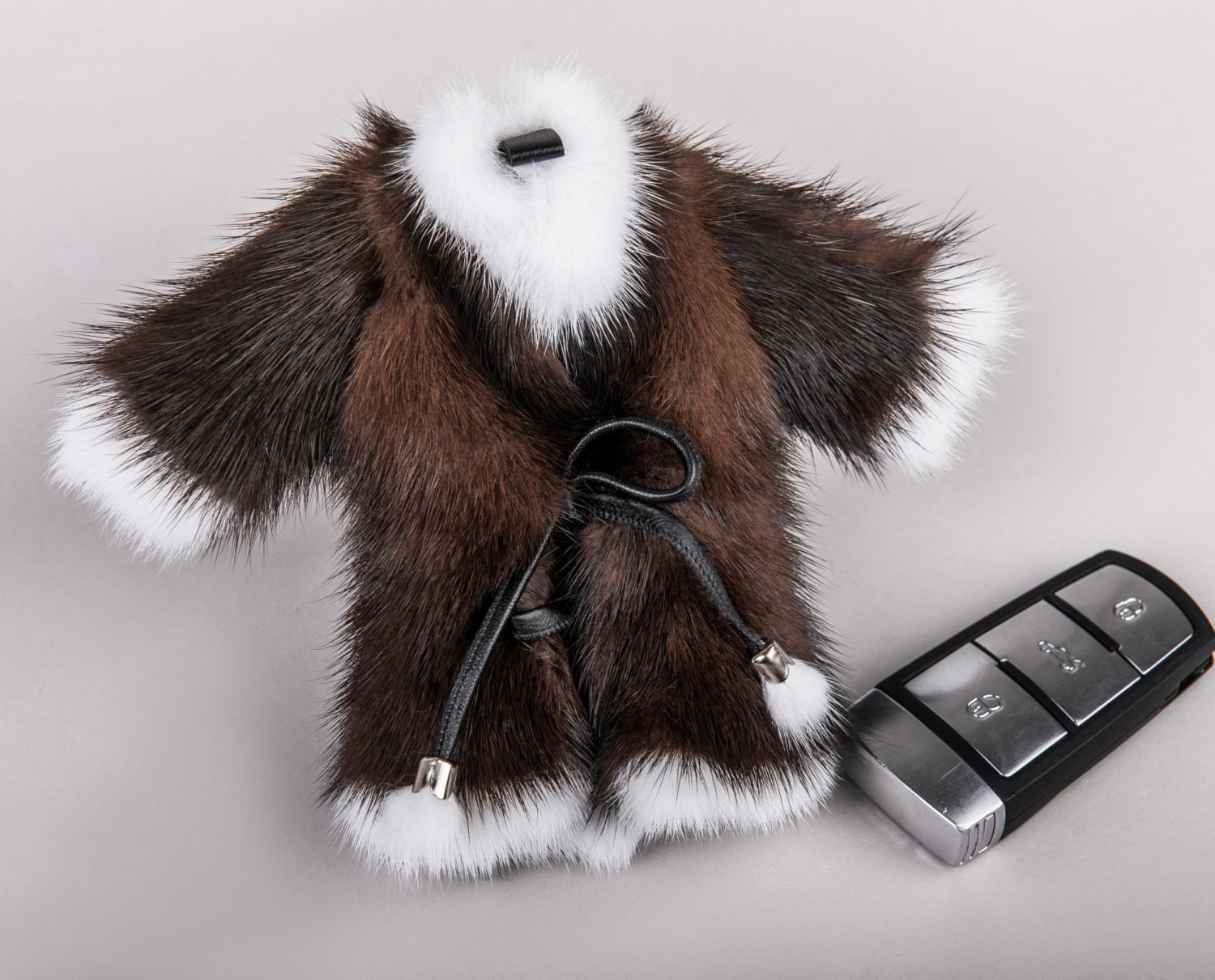 Buy Real Mink Fur Coat Keychain Brown and White