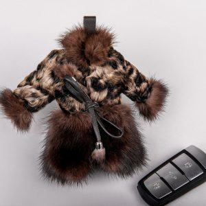 Buy Real Swakara Fur Coat Keychain Brown