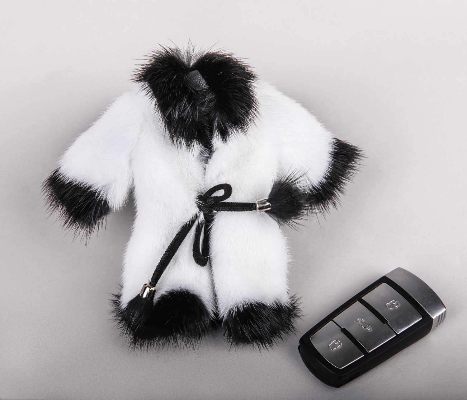 Buy Real Mink Fur Coat Keychain White and Black