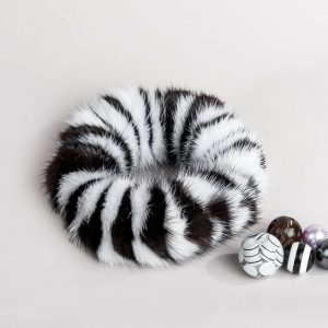 Buy Hair Scrunchie Real Mink Black and White Striped Bicolor