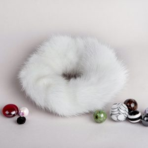 Buy Hair Scrunchie Real Mink White