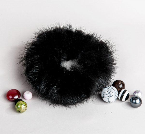Buy Hair Scrunchie Real Mink Black