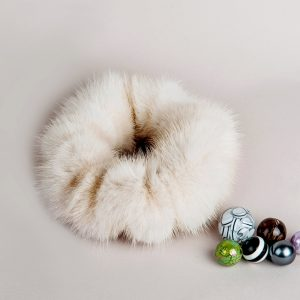 Buy Hair Scrunchie Real Mink Beige