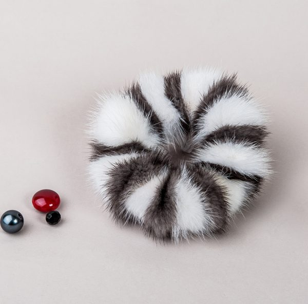 Buy Hair Scrunchie Real Mink White and Iris