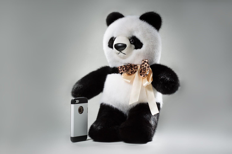 Buy Real Fur Mink Panda Big Black and White