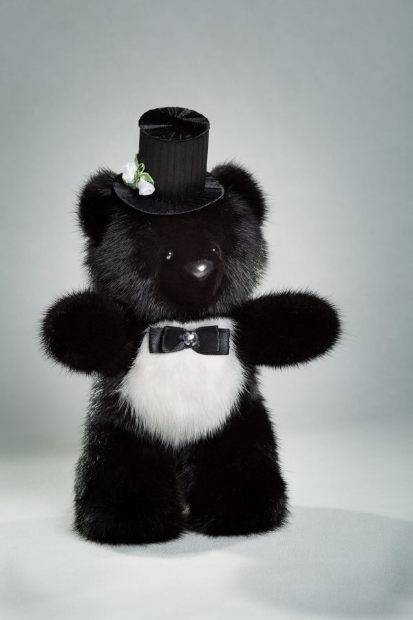 Buy Real Mink Wedding Bears Black and White