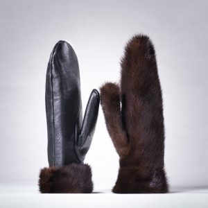 Buy Women Gloves Double-sided Brown Real Fur Mink