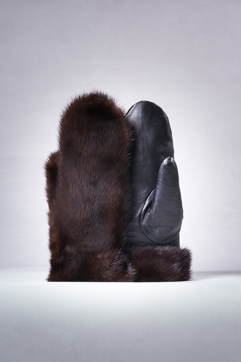 Buy Real Fuer Mink Gloves Double-sided Brown