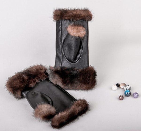 Buy Women Fingerless Mittens Brown Real Fur Mink