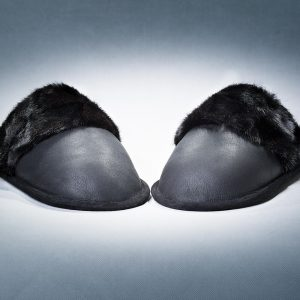 Black Slippers Men With Lump Mink Trimming