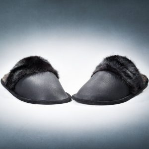 Black Slippers With Lump Mink Trimming Women