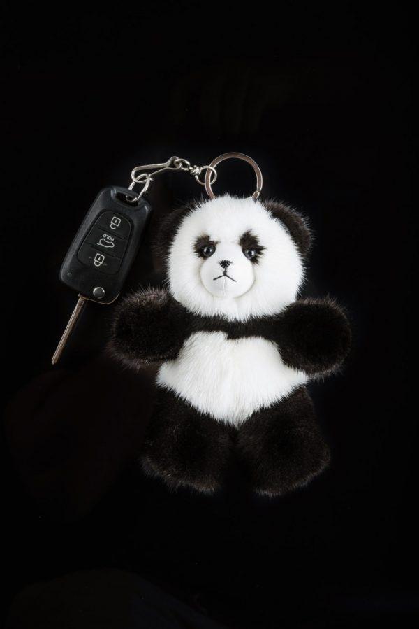 Buy Real Mink Fur Panda Keychain Black and White